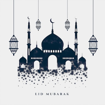 Saudação elegante islâmica eid mubarak com mesquita e lâmpadas