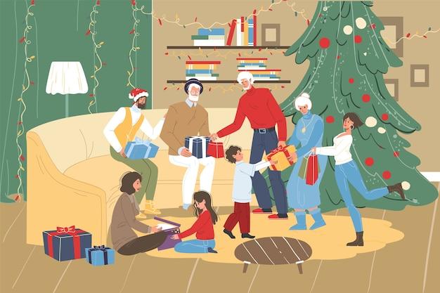 Saudação familiar dando presentes uns aos outros