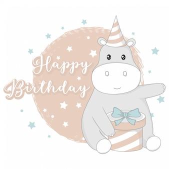 Saudação feliz aniversário com animais fofos