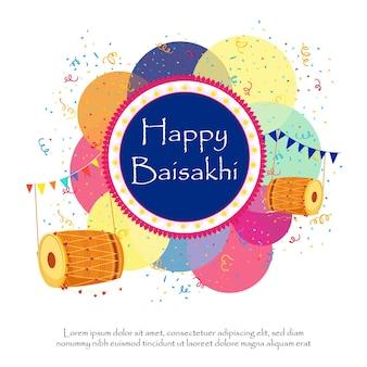 Saudação feliz do festival baisakhi com ilustração de punjabi dhols