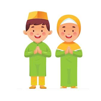 Saudação feliz muçulmano
