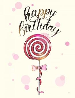 Saudação fundo de aniversário com pirulitos de mão desenhada e mão escrita escova na moda letras de feliz aniversário.