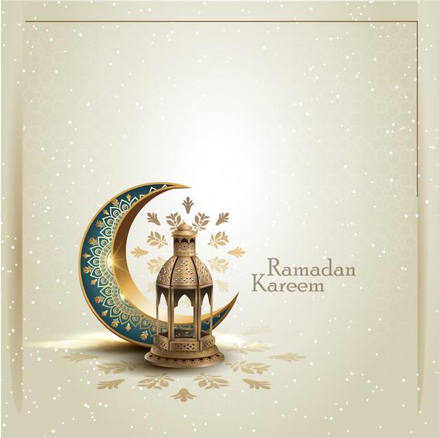 Saudação islâmica ramadan kareem cartão design com crescente e lanterna