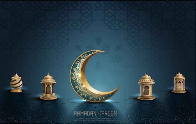 Saudação islâmica ramadan kareem cartão design com crescente e lanternas