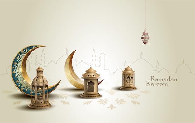 Saudação islâmica ramadan kareem cartão design com crescentes e lanternas