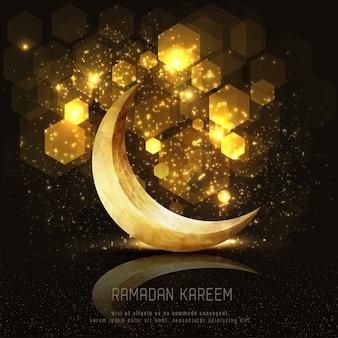 Saudação islâmica ramadan kareem cartão design com luz crescente e pentágono