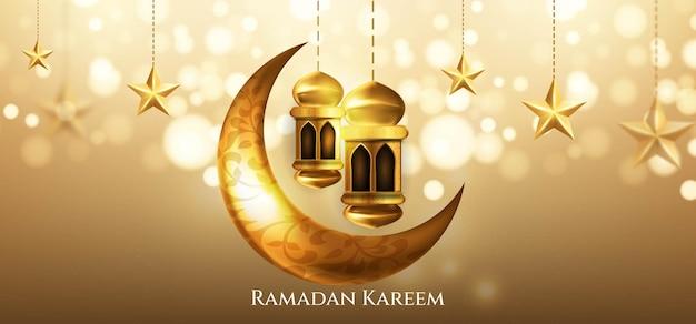 Saudação islâmica ramadan kareem com lua crescente, lanterna e estrela