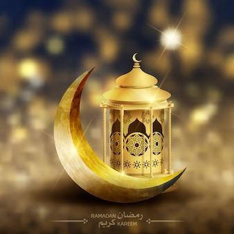 Saudação islâmica ramadan kareem design de cartão com lanterna e crescente