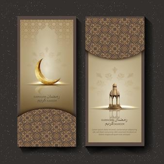 Saudação islâmica ramadan kareem design de cartão de brochura com crescente e lanterna