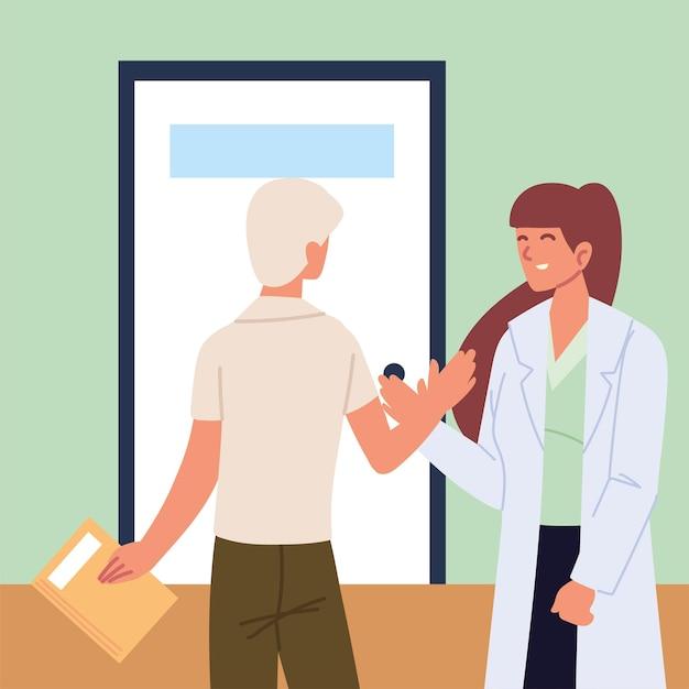 Saudação médico e paciente
