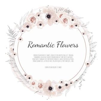 Saudação, modelo de convite de casamento de cartão postal. moldura elegante com rosa e anêmona