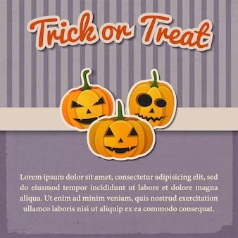 Saudação modelo vintage de halloween com inscrição de papel e abóboras tradicionais com emoções diferentes