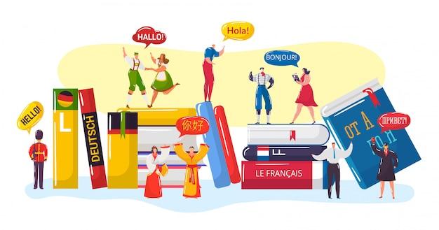 Saudação multilíngüe, desenhos animados de pessoas pequenas em roupas tradicionais nacionais cumprimentam e dizem olá