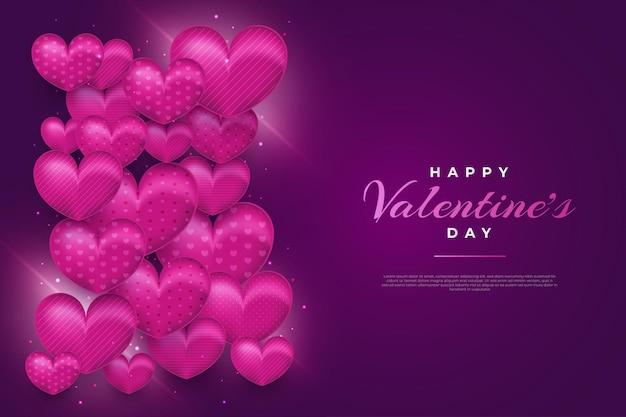 Saudação ou pôster do dia dos namorados com corações em fundo roxo