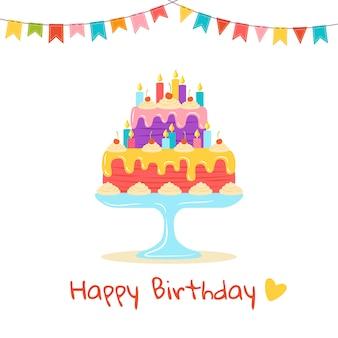 Saudação plana do bolo de aniversário. sobremesa deliciosa dos desenhos animados. torta de doces de festa de férias. ilustração isolada no fundo branco