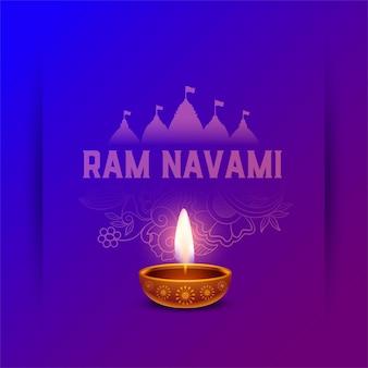 Saudação ram navami com design diya