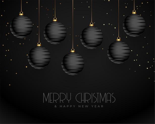 Saudação realista de feliz natal em preto escuro