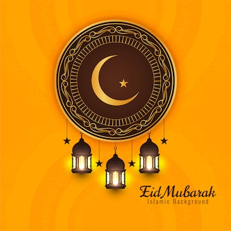 Saudação religiosa de eid mubarak fundo amarelo