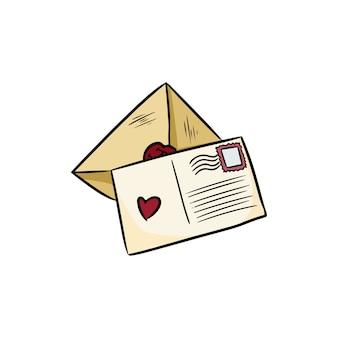 Saudações amor cartas doodles