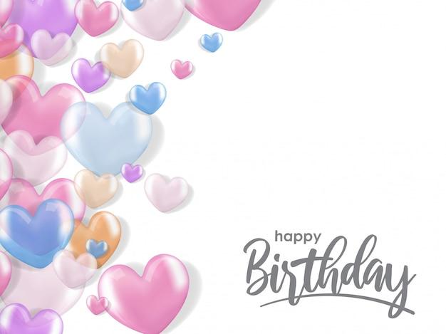 Saudações de aniversário com balão de coração realista 3d