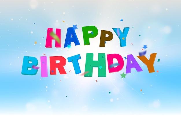 Saudações de aniversário com vetor de cartão de felicitações de balões
