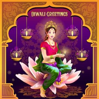 Saudações de diwali com garota posando com lâmpada