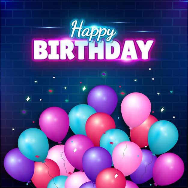Saudações de feliz aniversário com balão colorido