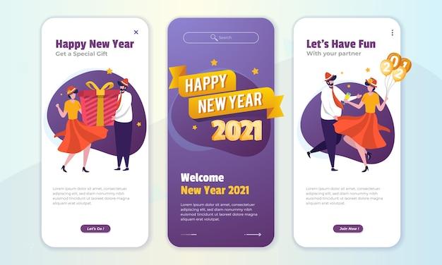 Saudações de feliz ano novo postam ilustração no conceito de tela a bordo