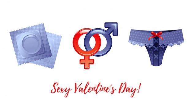 Saudações de feliz dia dos namorados dos desenhos animados com ícones dos namorados - preservativos, símbolos masculinos e femininos, calça sexy.
