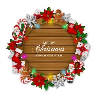 Saudações de feliz natal com decorações e luzes na placa de madeira