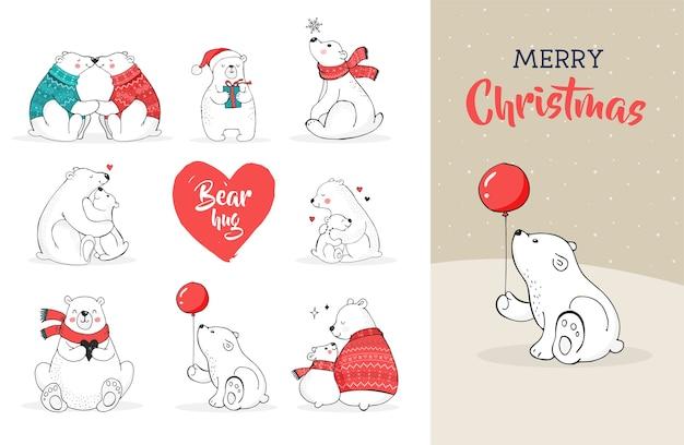 Saudações de feliz natal com ursos. urso polar desenhado à mão, conjunto de urso bonito, ursinhos mãe e bebê, dois ursos