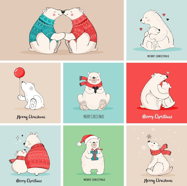 Saudações de feliz natal com ursos. urso polar desenhado à mão, conjunto de urso bonito, ursinhos mãe e bebê, dois ursos Vetor Premium
