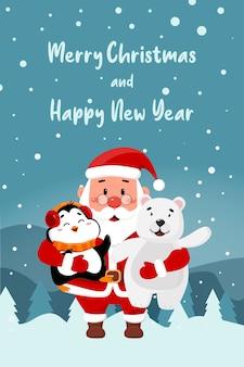 Saudações de feliz natal e feliz ano novo. pinguim do papai noel e urso polar em uma paisagem de inverno