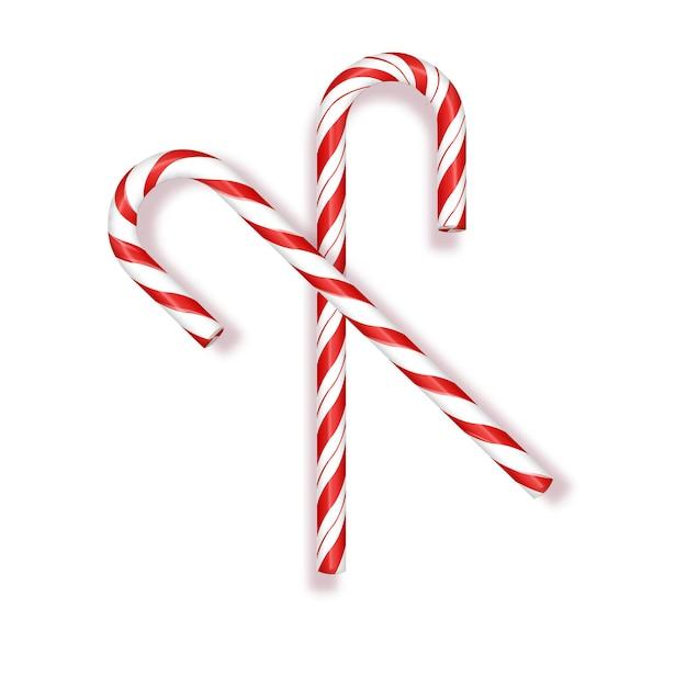 Saudações de feliz natal em um bastão de doces d realista na ilustração vetorial de fundo