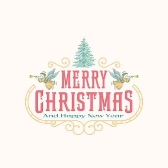 Saudações de natal abstrato vector frame retro rótulo, sinal ou modelo de logotipo. colorido desenhado à mão voando anjos e pinheiro desenho ilustração com tipografia. isolado.