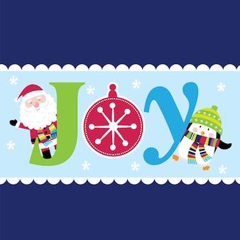 Saudações de natal com carta de alegria e papai noel e pinguim fofos