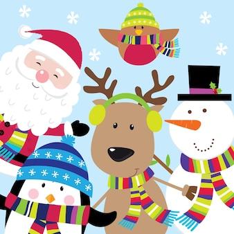 Saudações de natal com papai noel e amigos
