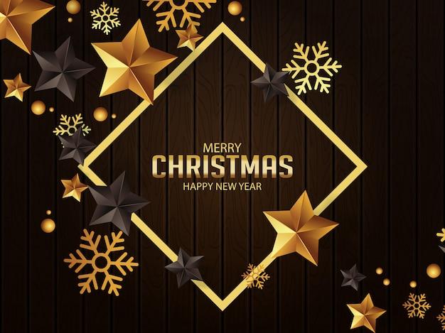 Saudações de natal de luxo com estrelas de ouro e pretas