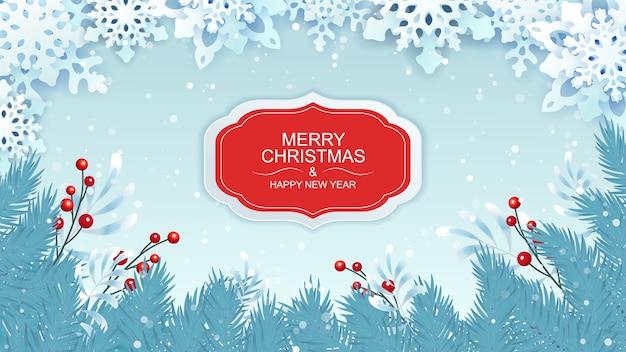 Saudações de natal e ano novo com flocos de neve e ramos de abeto.