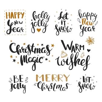 Saudações de natal e ano novo letras de vetor para cartões de natal isoladas em branco