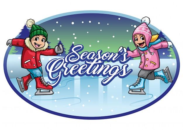 Saudações de temporadas de patinação no gelo de crianças