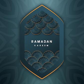 Saudações decorativas de ramadan kareem com fundo verde