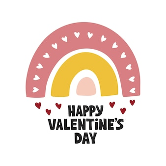 Saudações do dia dos namorados. mão-extraídas ilustração do arco-íris isolada no fundo branco. letras de feliz dia dos namorados.
