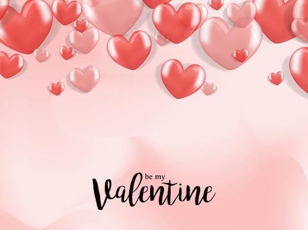 Saudações dos namorados com balão de coração realista 3d