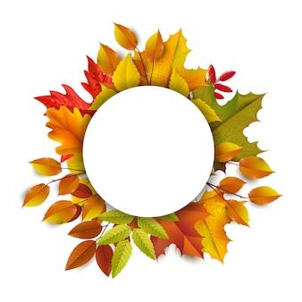 Saudações e presentes para o conceito de temporada outono e outono. fundo de outono, cartaz e modelo de banner com folhas de outono coloridas.