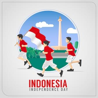 Saudações indonésias do dia da independência