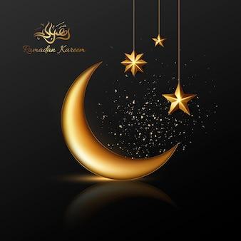 Saudações islâmicas ramadan kareem cartão design com lua e estrelas