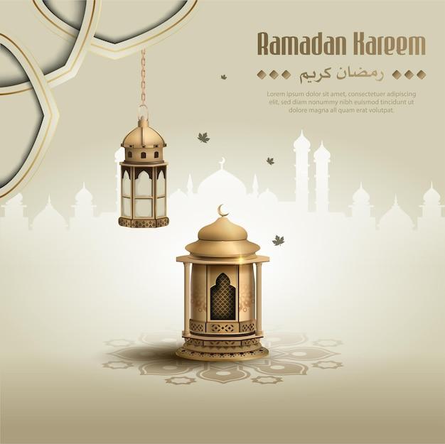 Saudações islâmicas ramadan kareem design