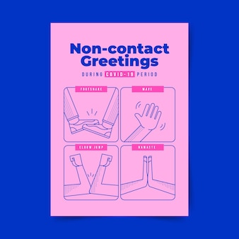 Saudações sem contato em formato de pôster
