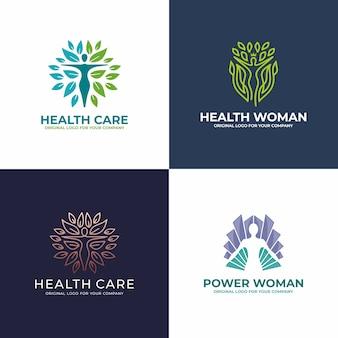Saudável, mulher, ioga, salão, coleção de design de logotipo de beleza.